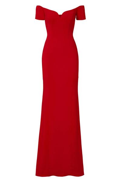 Badgley-Mischka-Red-Sweetheart-Off-Shoulder-Gown