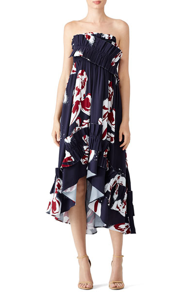Cedric-Charlier-Navy-Floral-Ruffle-Dress