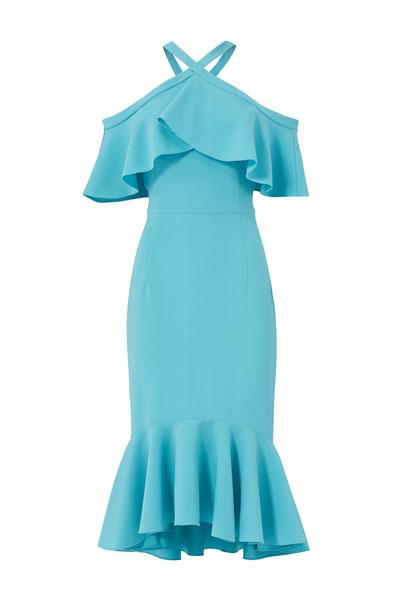 Christian-Siriano-Blue-Cold-Shoulder-Ruffle-Dress