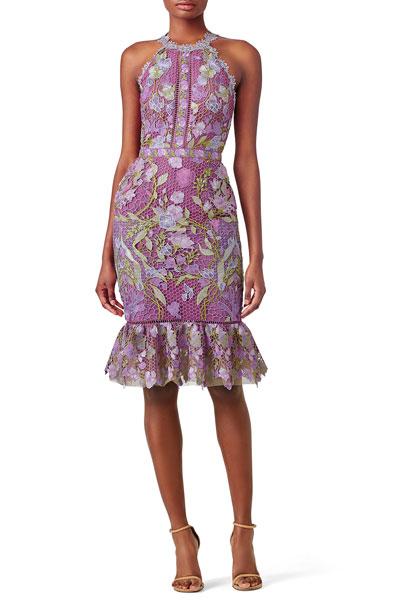 Marchesa-Notte-Purple-Lace-Flounce-Sheath
