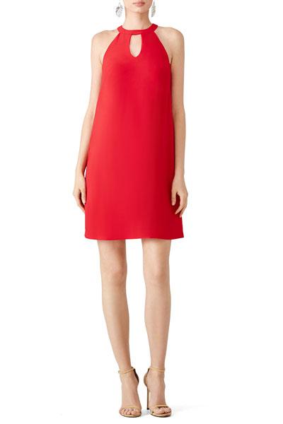 Nicole-Miller-Red-Keyhole-Dress