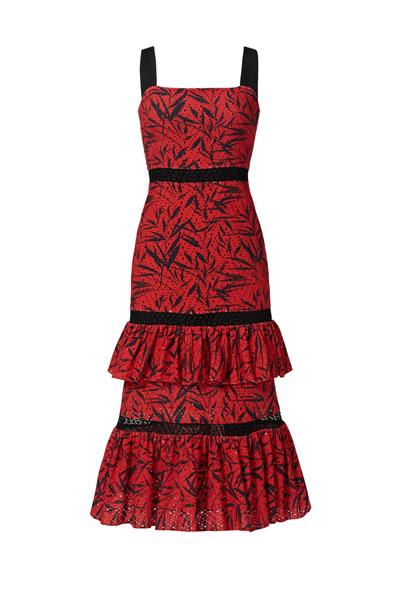 Prabal-Gurung-Red-Printed-Tiered-Dress