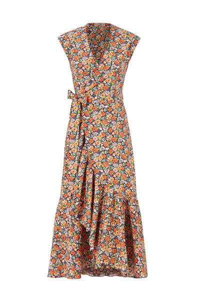 Rebecca-Taylor-Orange-Floral-Printed-Wrap-Dress
